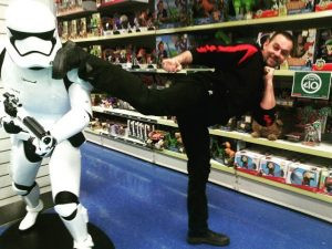 Taking out the Storm Trooper with a Side Kick to the head