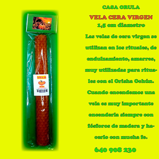 VELA DE CERA VIRGEN DE 1,5 CM DIAMETRO
