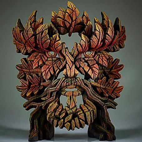 Edge Sculpture - Green Man Bust (Autumn Flame)