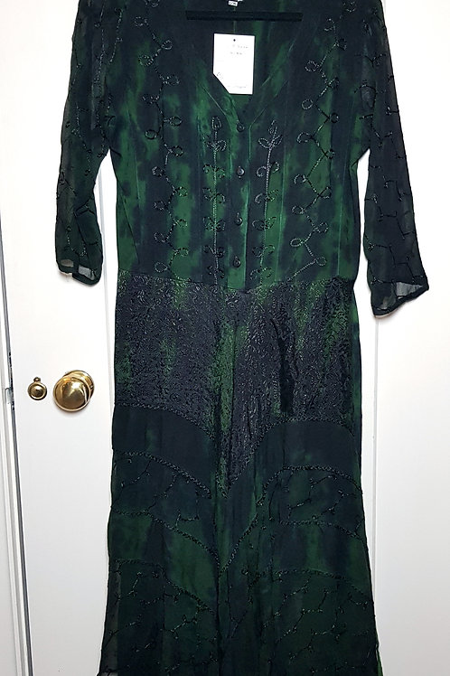 Loom Dragon Green Layered Buttoned Dress
