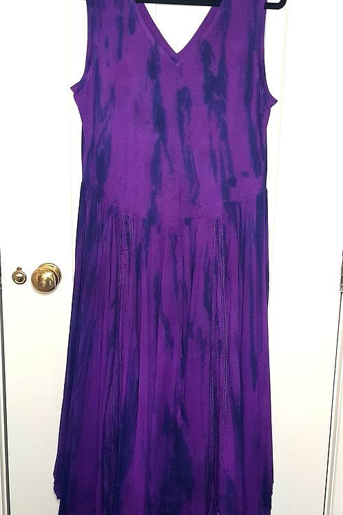 Loom Dragon  Long Tie Dye Dress with  Full Skirt