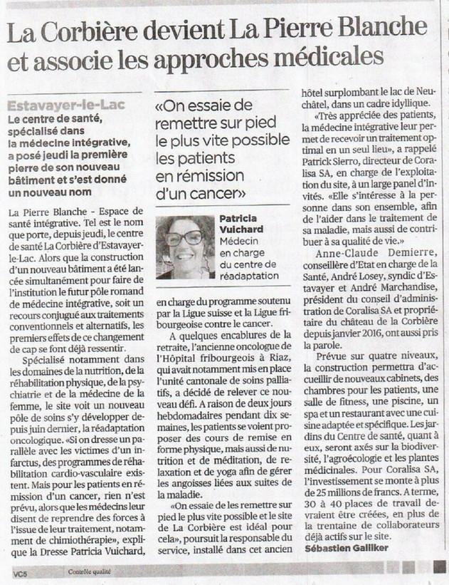 """ARTICLE : """"La Corbière devient La Pierre Blanche et associe les approches médicales."""""""