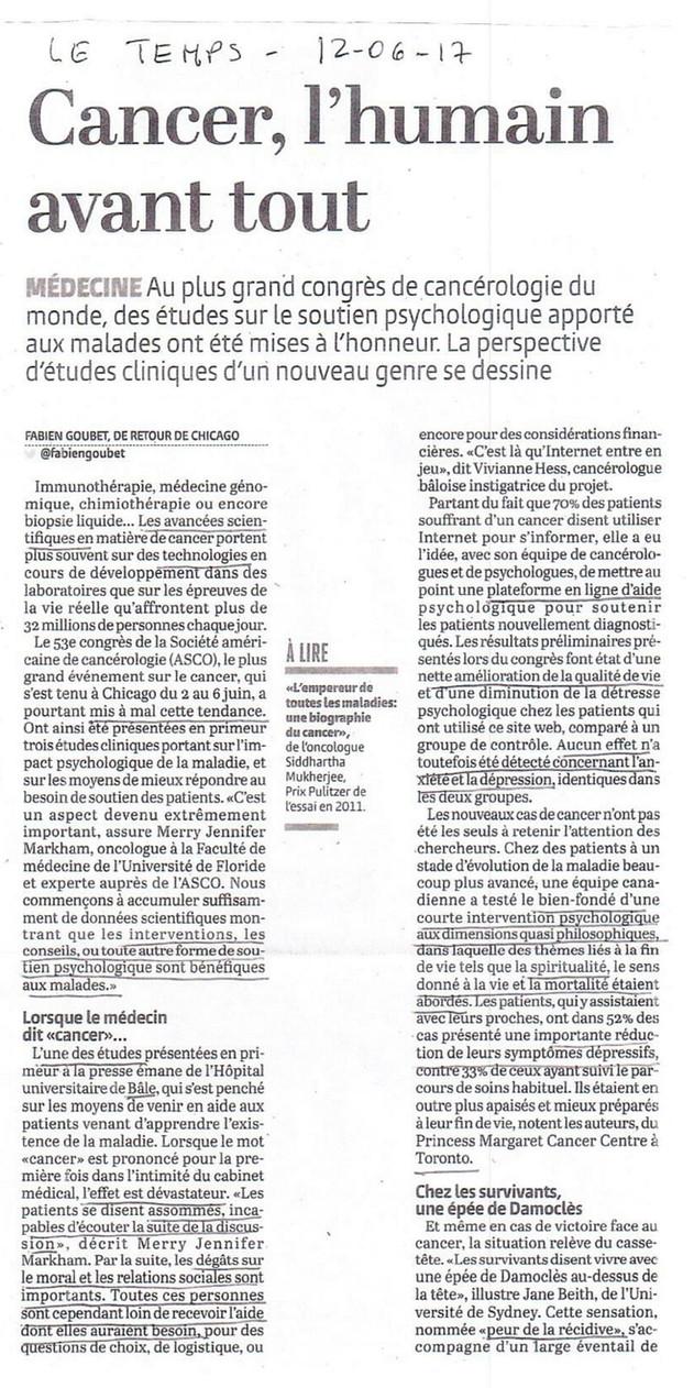 """ARTICLE : """"Cancer, l'humain avant tout"""""""