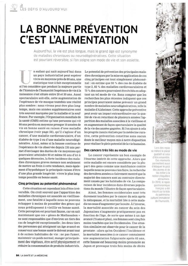 """ARTICLE : """"La bonne prévention c'est l'alimentation."""""""