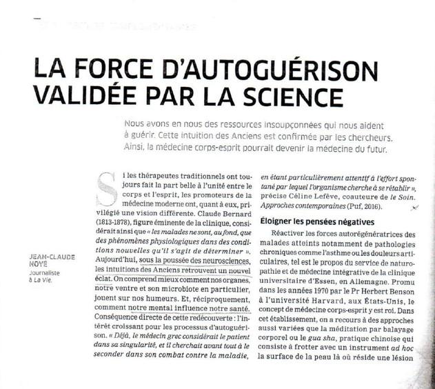 """ARTICLE : """"La force d'autoguérison validée par la science""""."""