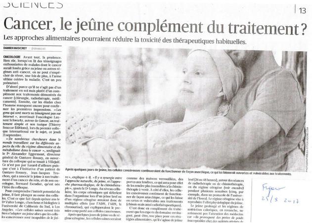 """ARTICLE : """"Cancer, le jeûne en complément du traitement ?"""""""