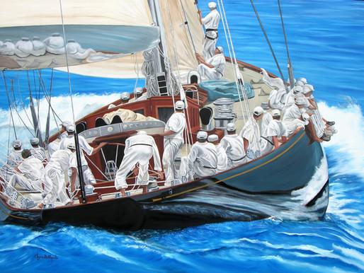 Η Χρύσα Δελλαπόρτα εκθέτει στο Ποσειδώνιο, στο πλαίσιο του Διεθνούς Αγώνα Κλασσικών Σκαφών Σπετσών