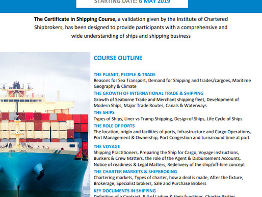 The Institute of Chartered Shipbrokers, Piraeus Branch: Certificate in Shipping Course