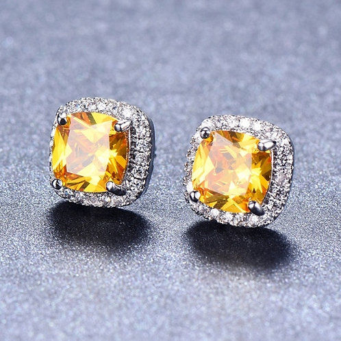 925 Sterling Silver Princess Cut Yellow