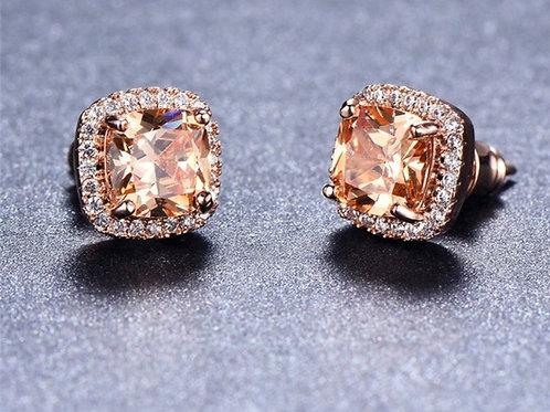 Fashion Junxin Elegant 18k Rose Gold Princess Cut Diamond CZ Stud Earrings