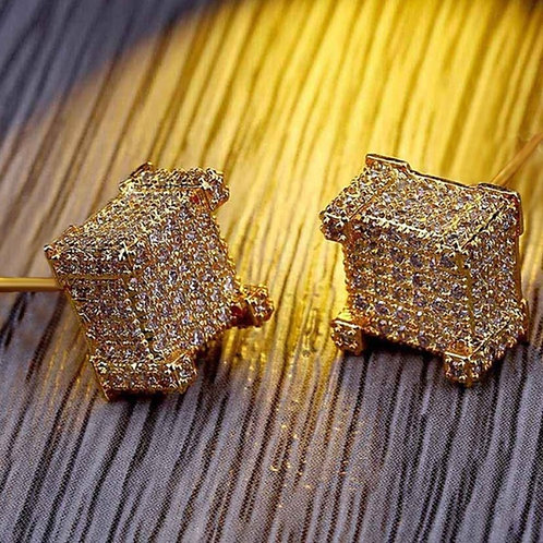 Rose gold earrings Hip-hop Micro-Inlaid Gold Earrings For Men/Women Fashion styl