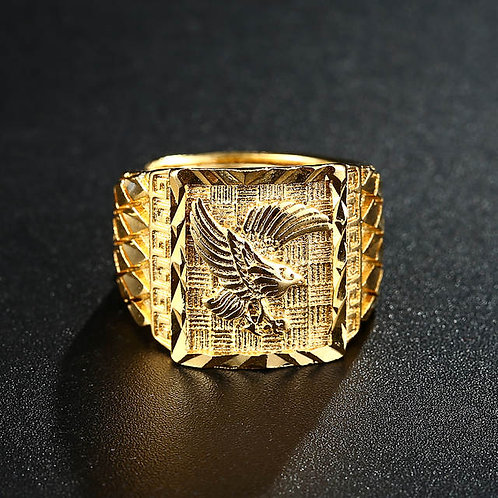 Gold Jewelry Never Fade Resizeable To 7-11 Finger Rock Eagle Men 's Ring Luxury