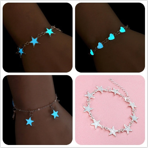 Fashion Women Star Heart Glowing Bracelets Glow In The Dark Jewelry