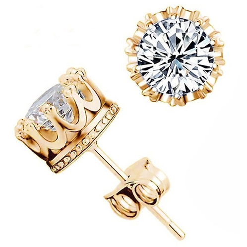 Round Cubic Crystal Stud Earrings For women and Man Crown Double Earrings