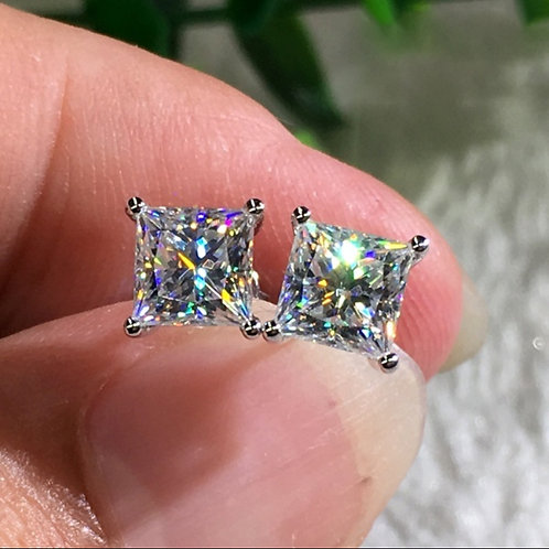 Fashion 18K White Gold Princess/Prince Cut Diamond Stud Earrings