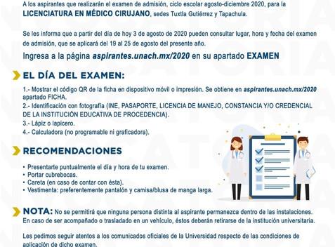 Se realizará examen de admisión de la Licenciatura en Médico Cirujano de la UNACH