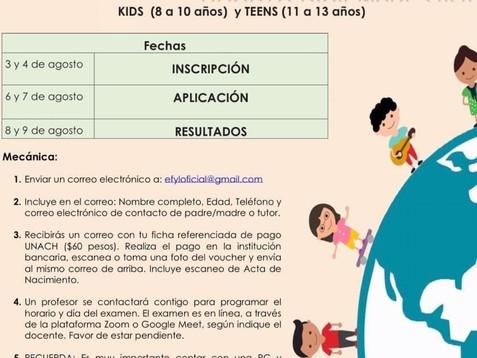 Lanza UNACH convocatoria de curso de inglés para niños y adolescentes de 8 a 13 años de edad