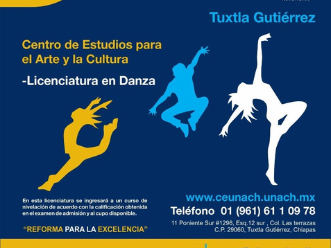 Invita UNACH a formar parte de la nueva generación de la Licenciatura en Danza