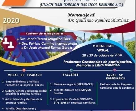 Organiza UNACH el 10° Congreso Nacional de Investigación en Empresas Familiares y Desarrollo Regiona