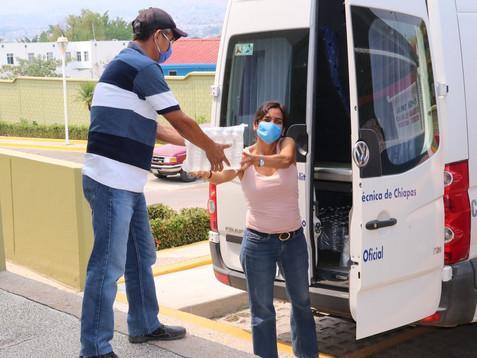 Politécnica de Chiapas distribuye gel antibacterial a hospitales