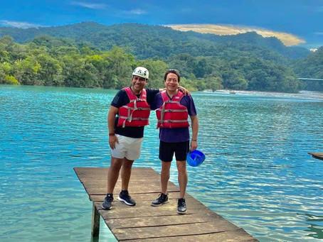Presidente del Senado y líder de Morena visitan Chiapas sin cubrebocas