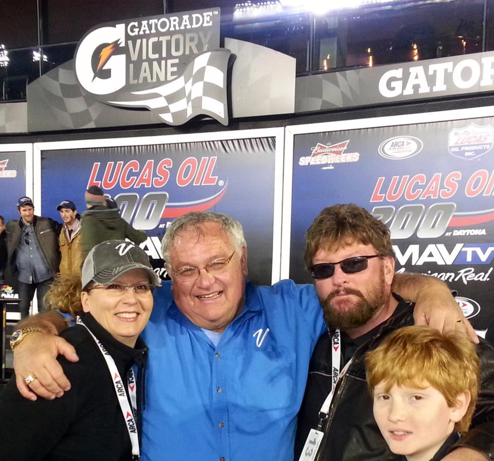 Victory Lane with racing partners