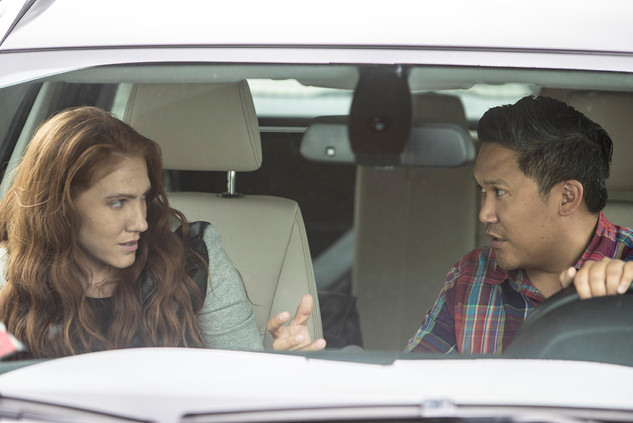 """Dante Basco (Jason) and Shannon Murray (Nora) during filming of """"Rag Doll"""""""