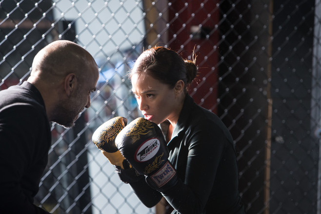 Rag Doll MMA film by Bailey Kobe Roxana Sanchez practices boxing