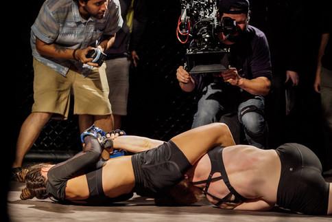 Director Bailey Kobe gets close during fight scenes between Shannon Murray & Roxana Sanchez