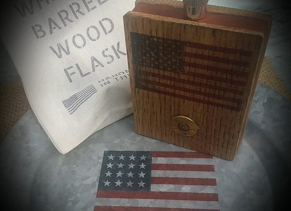 Whiskey barrel American flag flask with bullet