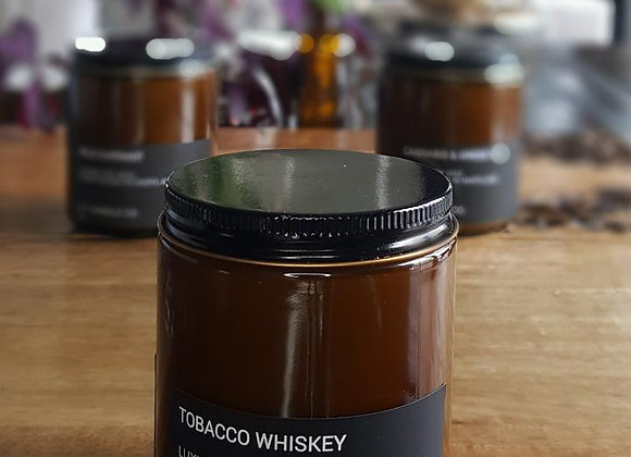 Amber Glass Jar Candle - Tobacco Whiskey 9 oz. in gift box