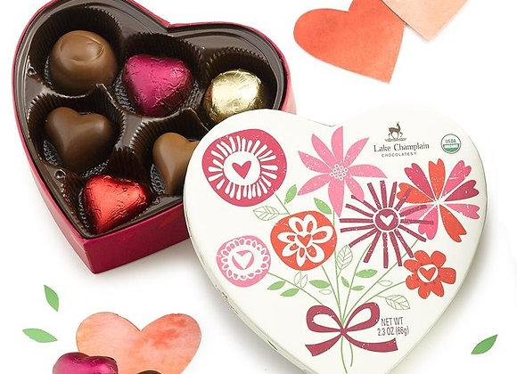 Heart Gift Box 6 Piece Asst Chocolate - Lake Champlain