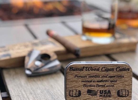Bourbon barrel American Flag Cigar Cutter with tin case