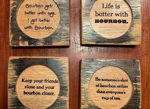 Bourbon Barrel Wood Coasters Set (Variety)