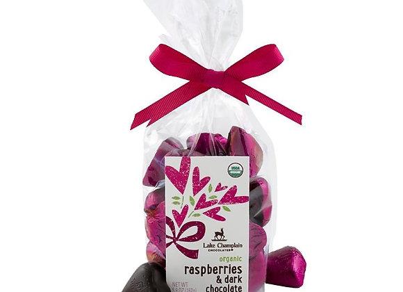 Raspberry & Organic Dark Chocolate Hearts 5.9oz bag