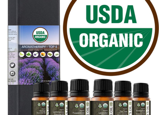 Essential Oil Aromatherapy Starter Kit-Top Six - 10ml (Certified Organic)