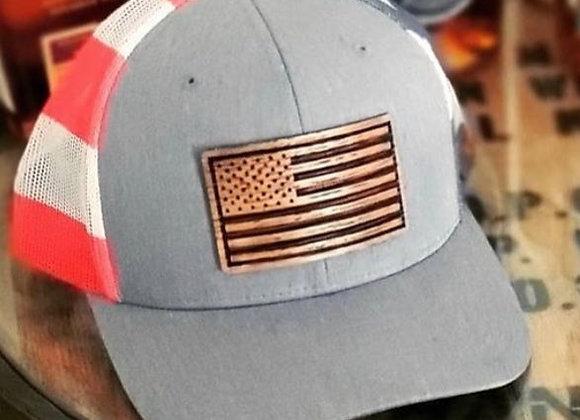 Wood American Flag  Mesh Cap