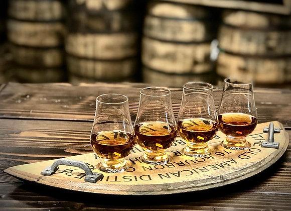 Bourbon barrel flight tray with handles
