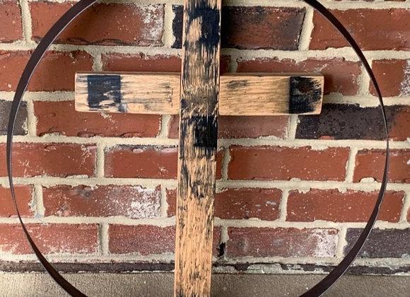 Bourbon Stave in metal barrel ring