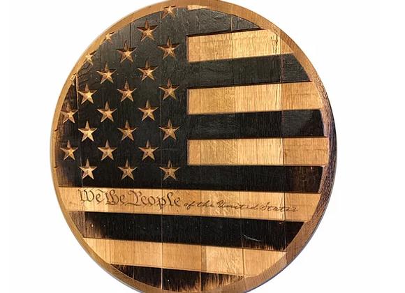"Bourbon Barrel Head ""We The People Flag"""