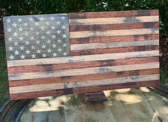 American Flag w/Stand Made from Barrel Staves