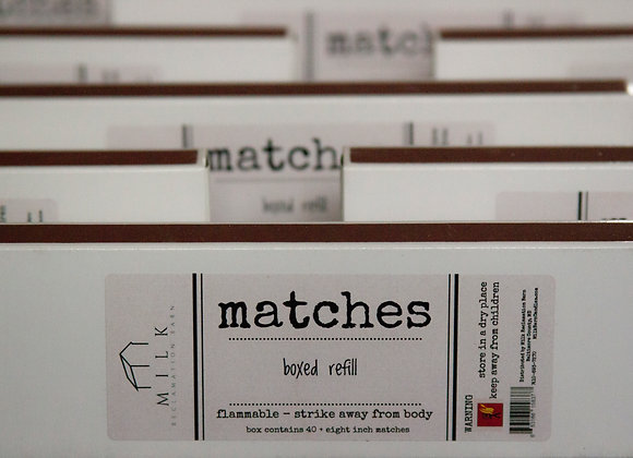 "Milk Barn Matches Refill Box -8"" length (40 sticks)"