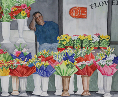 Slow Day at the Flower Market