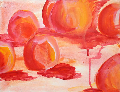 peaches, pink. acrylic on canvas. 11X14.