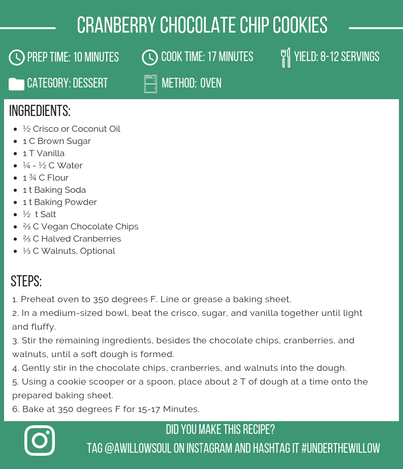 Cranberry Chocolate Chip Cookies Recipe Card