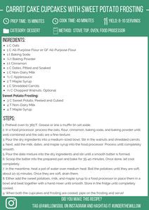 Vegan Carrot Cake Cupcakes with Sweet Potato Frosting Recipe Card