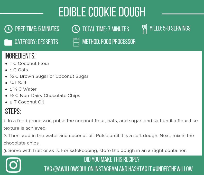 Edible Chocolate Chip Cookie Dough (Vegan, Paleo, Gluten-Free) Recipe Card