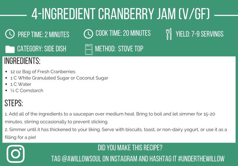 4-Ingredient Cranberry Jam (Vegan & Gluten-Free) Recipe Card