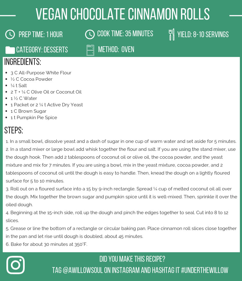 Vegan Chocolate Cinnamon Rolls Recipe Card