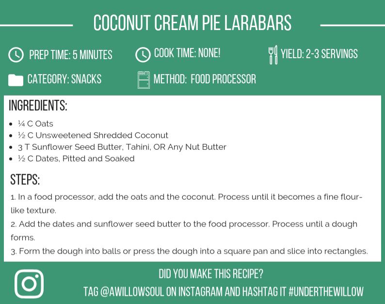 Coconut Cream Pie Larabars Recipe Card